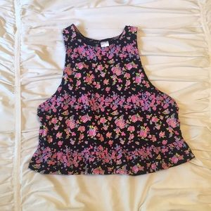 H&M floral cropped tank top